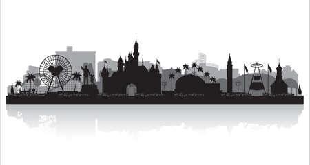 Illustration pour Anaheim California city skyline vector silhouette illustration - image libre de droit