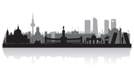 Illustration pour Madrid Spain city skyline vector silhouette illustration - image libre de droit
