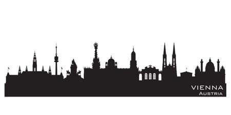 Illustration pour Vienna Austria skyline Detailed vector silhouette - image libre de droit
