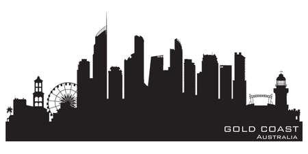 Illustration pour Gold Coast Australia skyline Detailed vector silhouette - image libre de droit