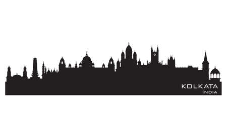 Illustration pour Kolkata India city skyline Detailed vector silhouette - image libre de droit
