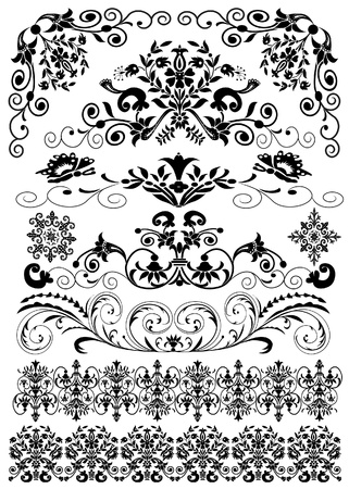 Illustration pour illustration set symmetrical black pattern is insulated - image libre de droit