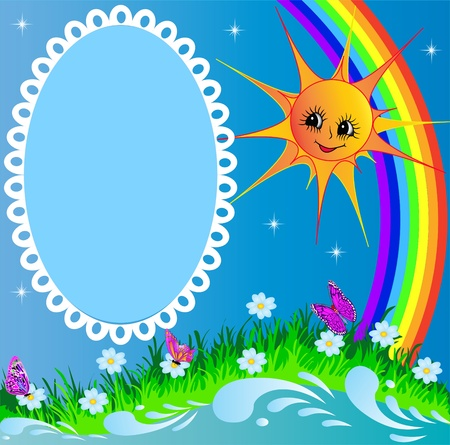 illustration frame with sun butterfly and rainbow