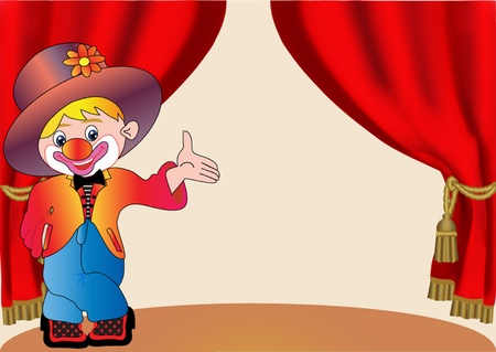 illustration merry clown on scene with curtain