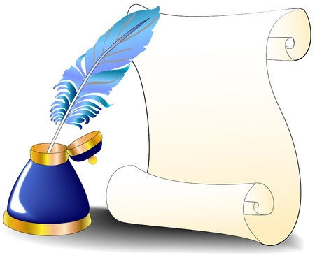 illustration feather roll and inkwell for message