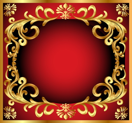 illustration background pattern gold on red background