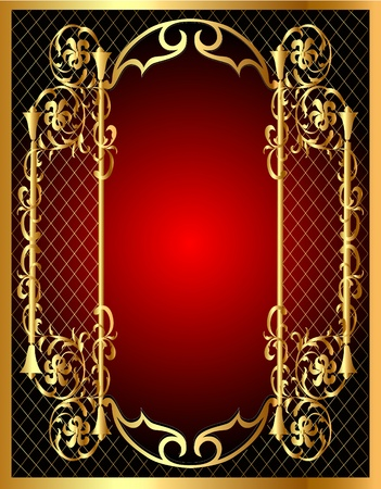 Illustration for illustration frame background with gold vegetable pattern - Royalty Free Image