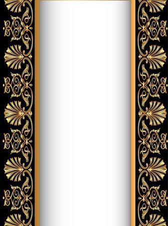 illustration old background with gold(en) antique pattern