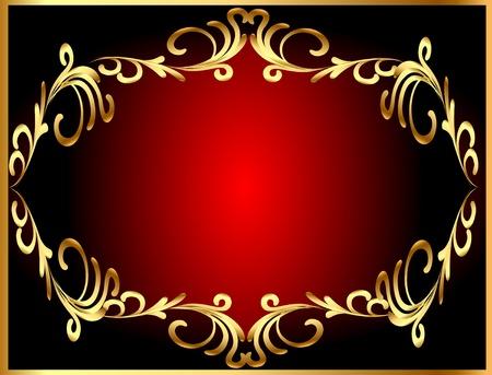 illustration frame background with gold(en) winding pattern