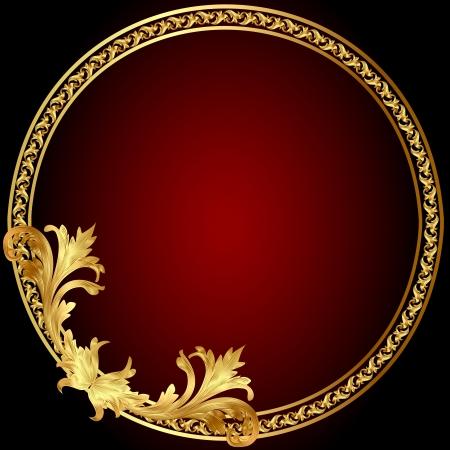 illustration frame with gold(en) pattern on circle