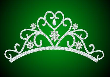 illustration diadem feminine wedding with pearl on green