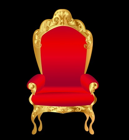 illustration old chair red with gold ornament on black