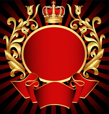 Illustration for illustration noble background with gold(en) pattern and crown - Royalty Free Image
