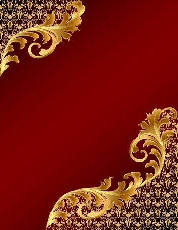 Illustration for illustration brown background with gold(en) ornament - Royalty Free Image