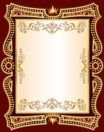 Illustration for  illustration brown background frame with gold(en) pattern - Royalty Free Image