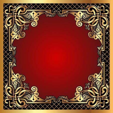 Illustration for  illustration red background frame with gold(en) pattern and net - Royalty Free Image