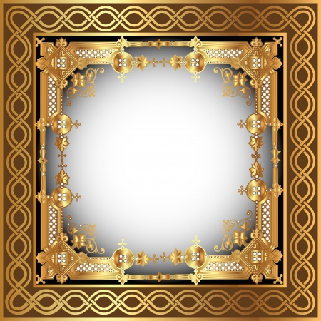 Illustration for illustration  background with white frame with gold(en) pattern - Royalty Free Image