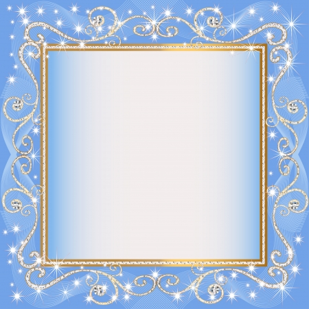 illustrations frame blue background with gold(en)(en) sample