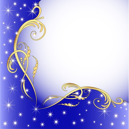 Illustration for illustration background with gold (en) an ornament and stars - Royalty Free Image