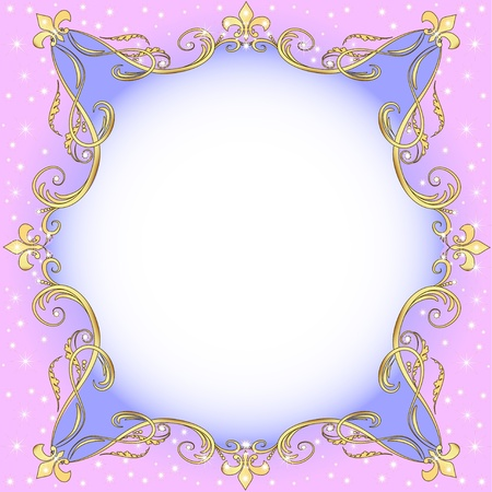 Illustration for illustration a light background with gold (en) an ornament and stars - Royalty Free Image