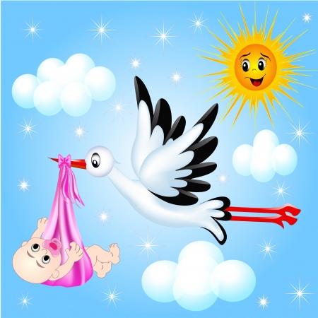 Photo pour illustration nursery frame for photo stork and cloud - image libre de droit