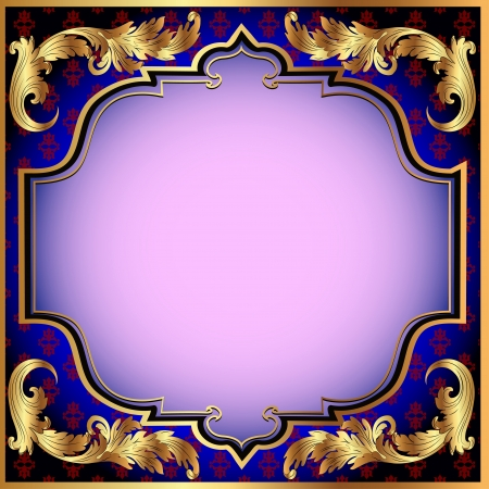 Illustration for illustration a dark blue background with with a gold vegetative ornament and a pink shade - Royalty Free Image