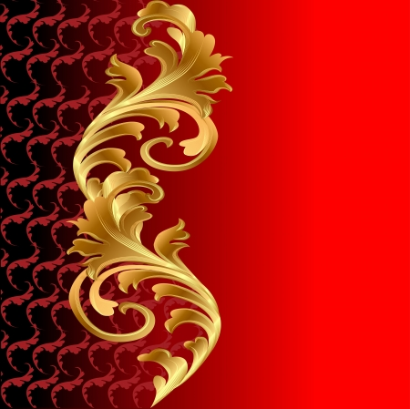 illustration of a red background with a gold floral ornament