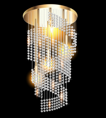illustration of a modern chandelier with crystal pendants on the black