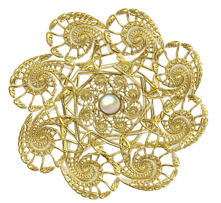 fractal illustration of round gold brooch with pearls