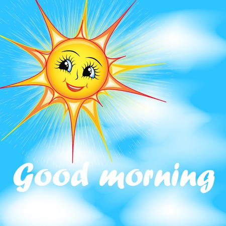 bright cartoon illustration of a smiling sun in the sky and the words good morning