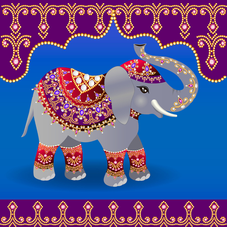 Illustration pour Illustration of Indian elephant decorated for a Wedding. - image libre de droit