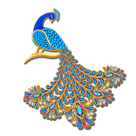Illustration pour Illustration Jewelry brooch peacock with precious stones - image libre de droit