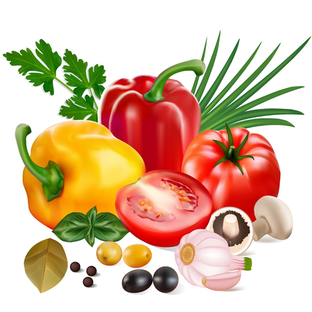 Foto de Illustration of sweet peppers with tomatoes, garlic, olives, mushrooms and onions. - Imagen libre de derechos