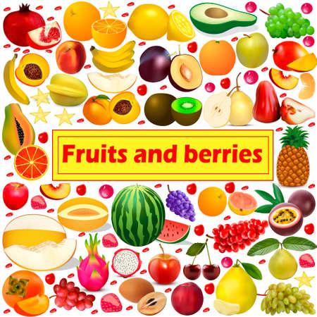 Illustration pour Illustration summer background Fruits and berries icon set - image libre de droit