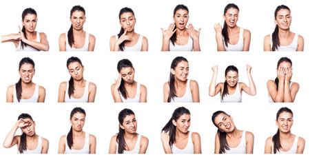 Foto de Composite of positive and negative emotions with girl - Imagen libre de derechos