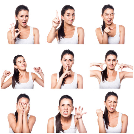 Foto de Composite of positive emotions and gestures with girl - Imagen libre de derechos