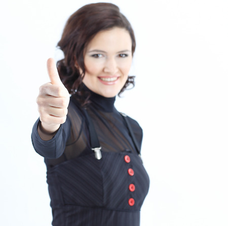 closeup.modern business woman showing thumb up