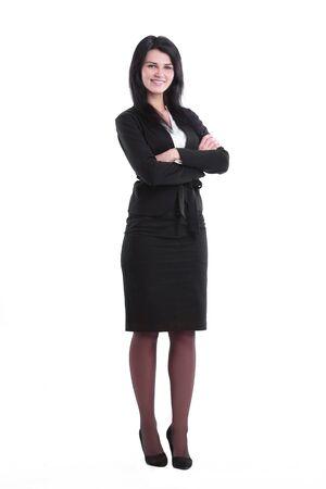 Photo pour in full growth. confident young business woman - image libre de droit