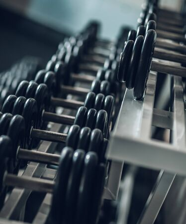 Photo for close up. Rows of dumbbells in the gym . - Royalty Free Image
