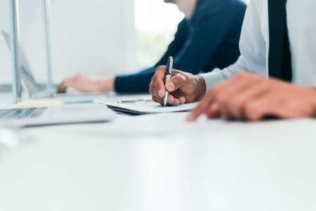 Photo pour close-up. image employees work with financial documents. - image libre de droit