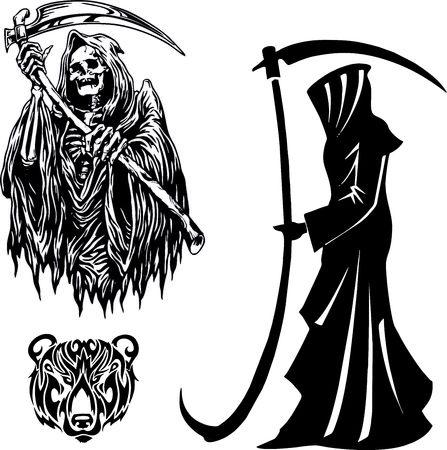 Illustration pour grim reaper with scythe. silhouette on Halloween death - image libre de droit