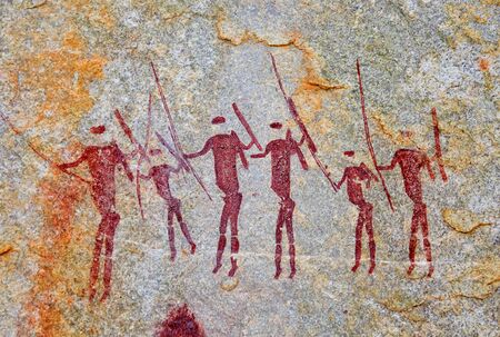 Foto de Ancient drawings of the San people in the rocks on the border of Mozambique and Zimbabwe - Imagen libre de derechos