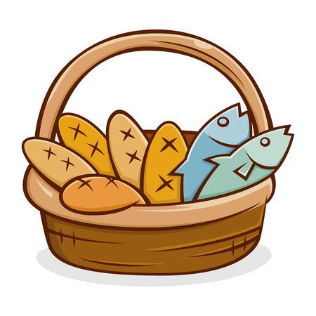 Vektor für Five bread and two fish in a basket, vector illustration - Lizenzfreies Bild