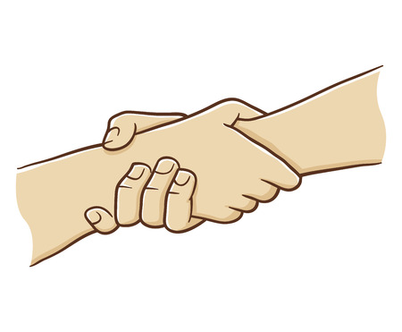 Two Hand Holding Each Other With Strong Grip, vector illustration