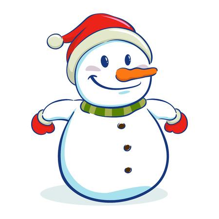 Happy snowman character wearing santa hat