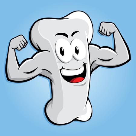 Illustration pour Happy strong bone character with muscular arm, vector cartoon - image libre de droit