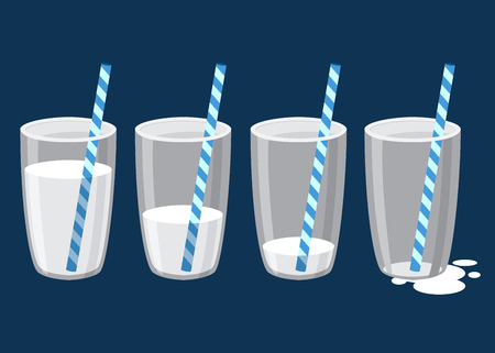 Vektor für Vector stock of glass of milk with straw in different drinking stages - Lizenzfreies Bild