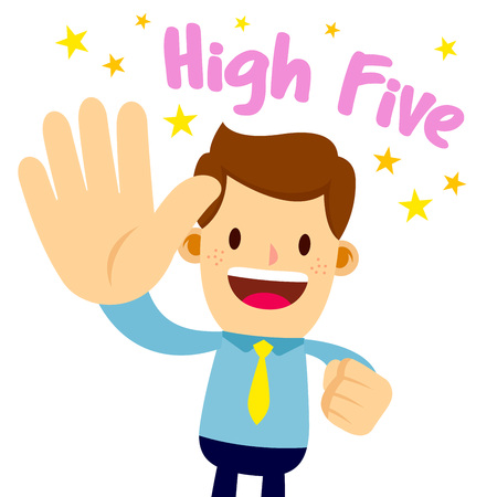 Ilustración de Vector stock of a businessman lifting his palm, saying high five - Imagen libre de derechos