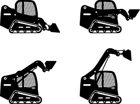 Detailed illustration of skid steer loaders, heavy equipment and machinery