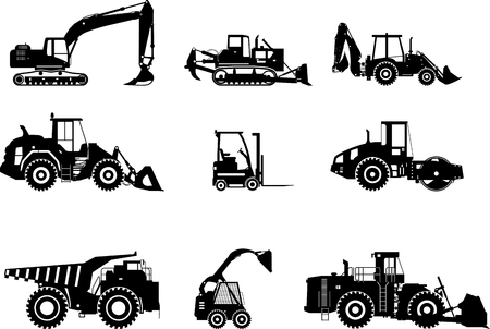 Illustration for Silhouette illustration of heavy equipment and machinery - Royalty Free Image